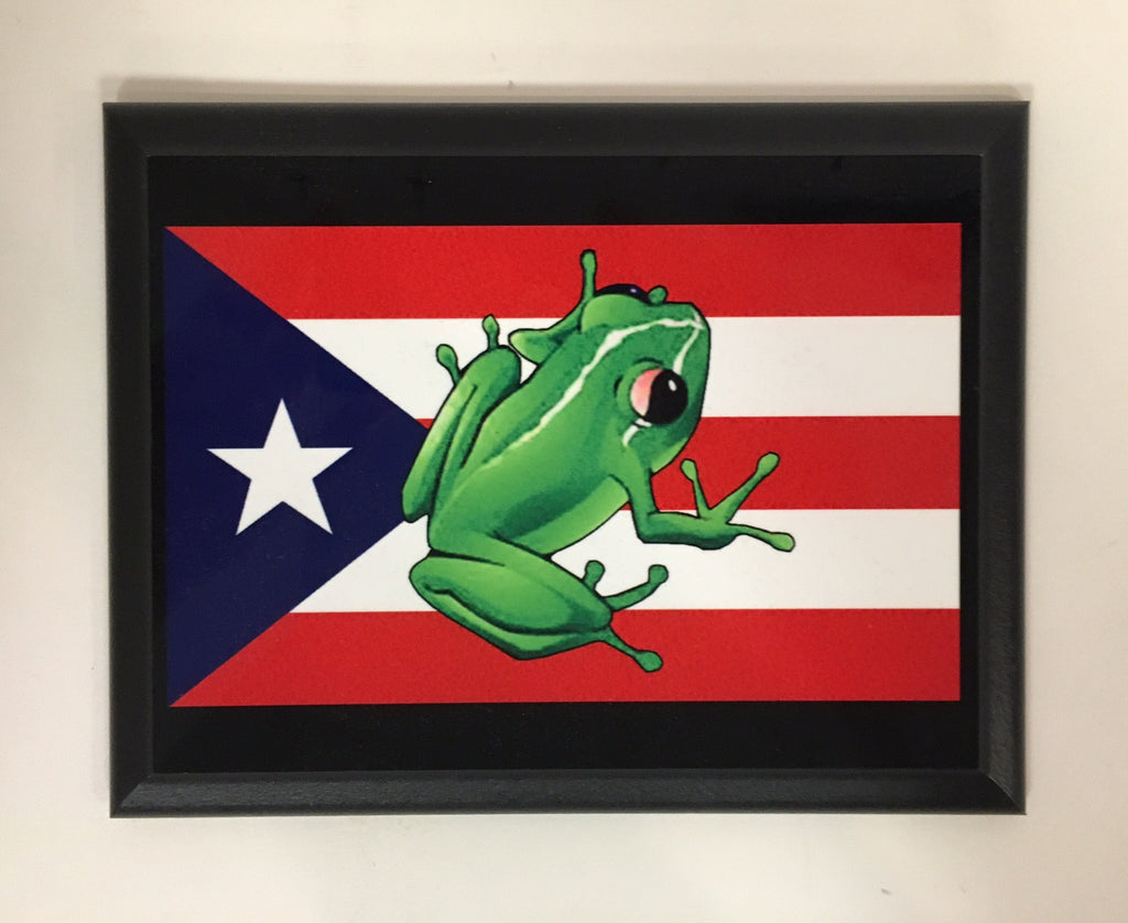 Puerto Rican Flag (with Frog) Plaque