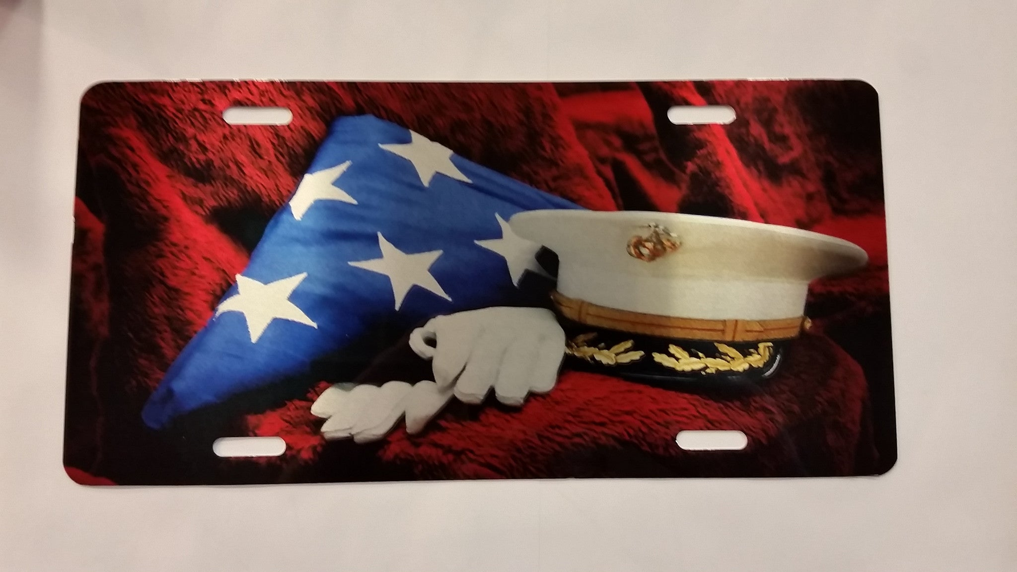 U.S. Marine Corps Flag/Memorial License Plate