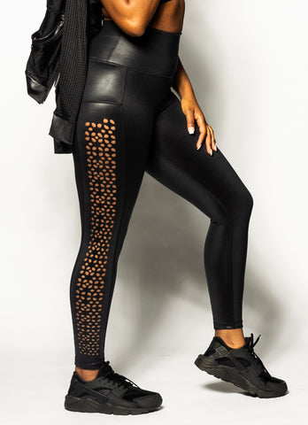 Black Liquid Leather Leggings