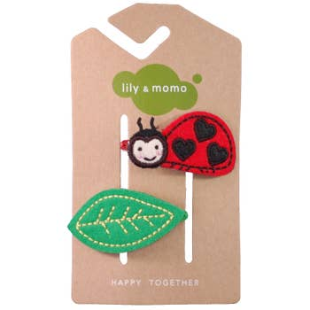 Lily and Momo Hair Clips - Lady Bug - Red and Black