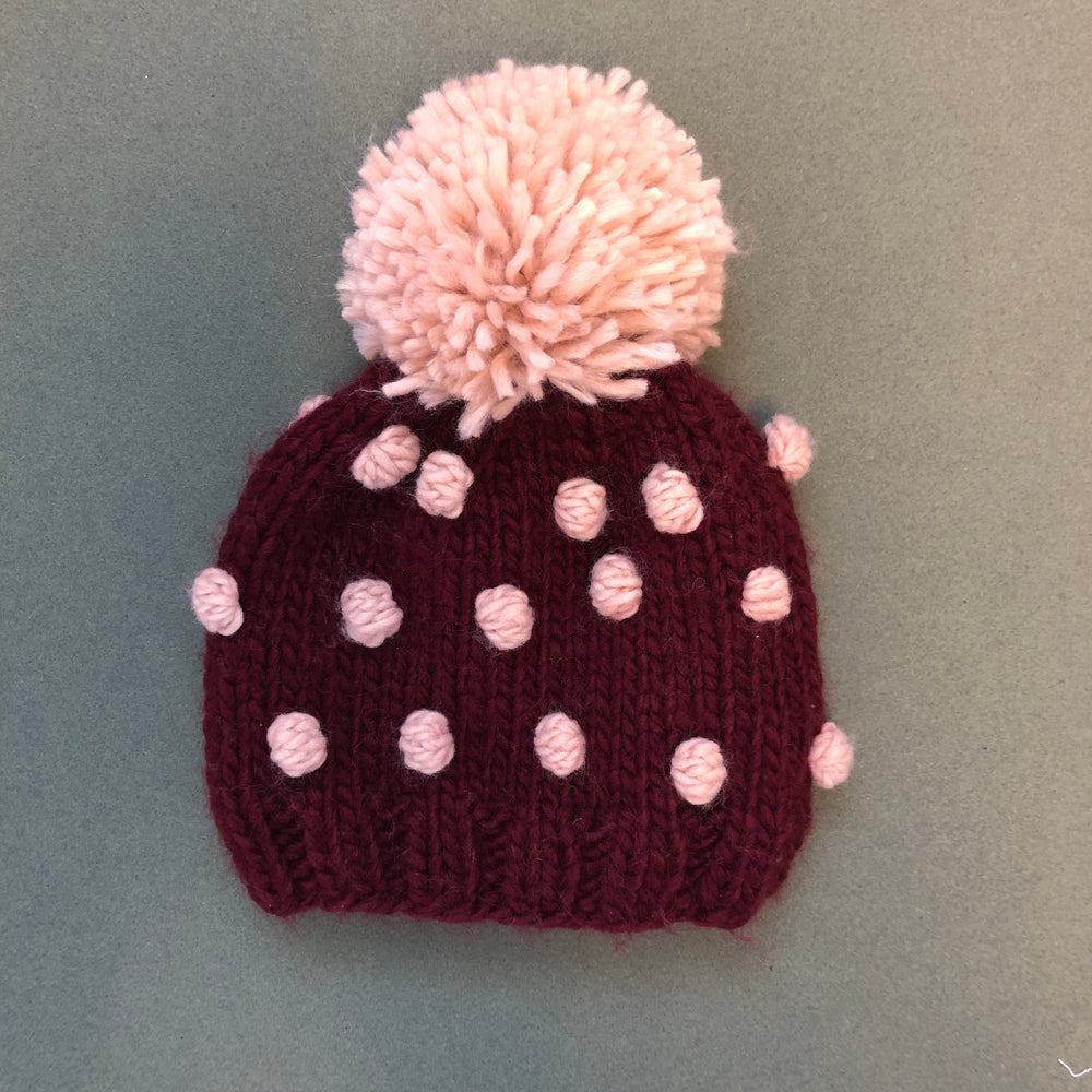 The Blueberry Hill - Pomegranate with Pink - Popcorn Hat with Pom