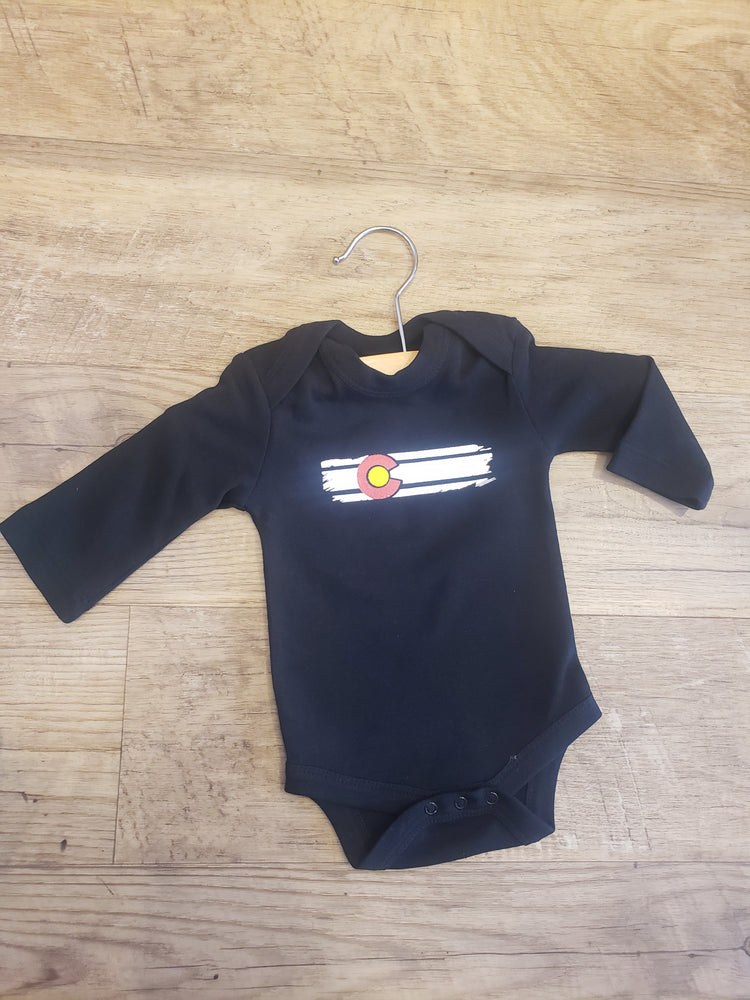 Colorado Baby - Flag Onesie - Black Long Sleeve