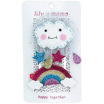 Lily and Momo Hair Clips - Cloudy Day and Rainbow
