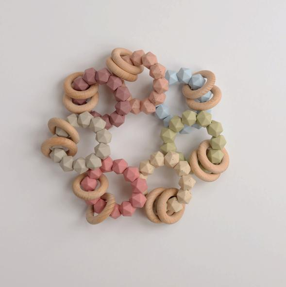 Three Hearts - Abby Teething Rattle - Peachy