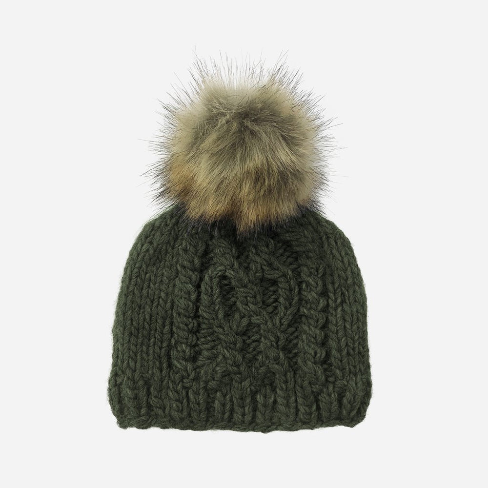 The Blueberry Hill - Cable Knit with fur pom - Rifle Green
