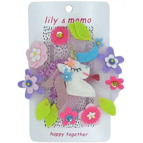 Lily and Momo Hair Clips - Forest Unicorn