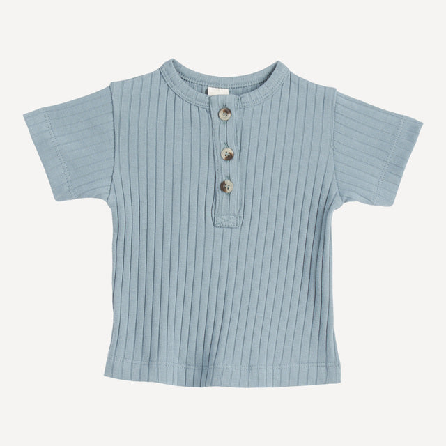 Kate Quinn - Short Sleeve Henley Tee - River Blue