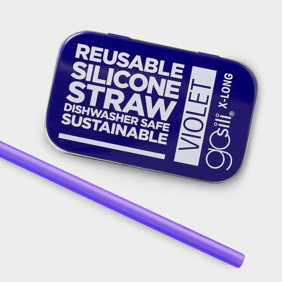 GoSili - Violet - Extra Long Straw Tin