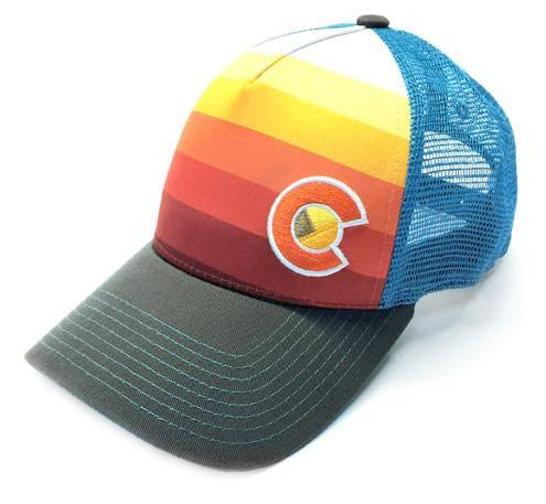YoColorado - Adult Fit - Sunset Fader Trucker Flag Hat