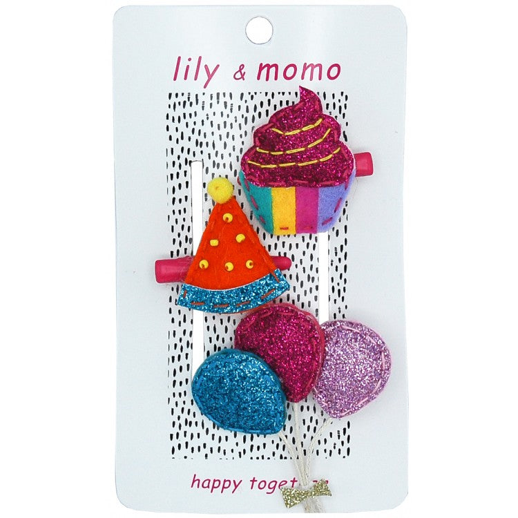 Lily and Momo Hair Clips  Party Time Trio Alligator Clip