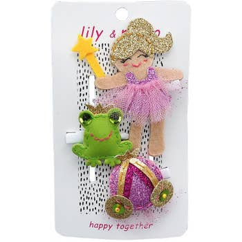 Lily and Momo Hair Clips - Princess and Frog Trio