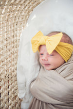 Baby Bling Bows - Cable Knit Knot - Mustard