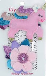 Lily and Momo Hair Clips - Pretty Pastel Unicorn