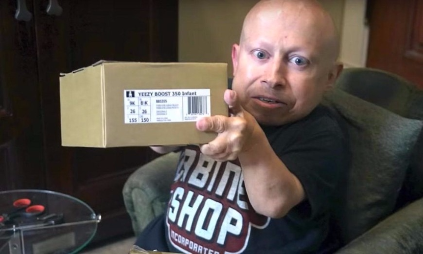 Kanye & Kim K Send Verne Troyer An Infant-Sized Pair Of Yeezy Boost 350s