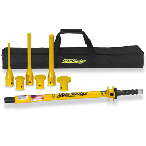 211105 Slide Sledge 9 Pound 30″ Multi-Head Hammer with 6 Pin Drivers