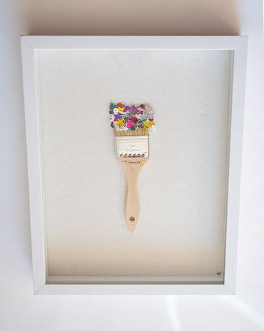 SIGNED Framed Sequin Paint Brush