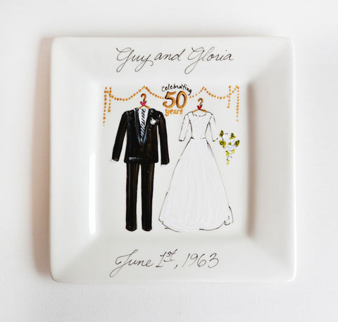 Hand-Painted Custom Wedding Anniversary Plate
