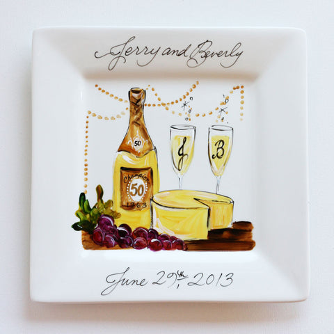 Hand-Painted Custom Wine & Cheese Anniversary Plate