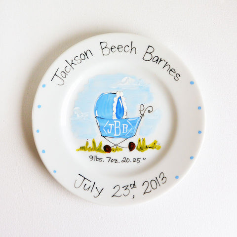 Hand-Painted Custom Baby Plate (Boy)