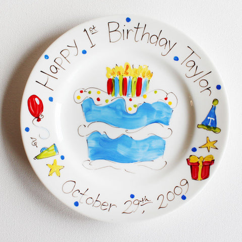 Hand-Painted Custom Birthday Plate (Boy)