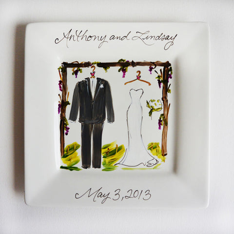 Hand-Painted Custom Vineyard Wedding Plate