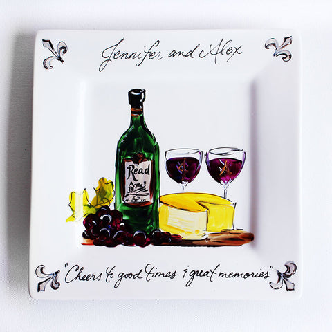 Hand-Painted Custom Wine & Cheese Plate