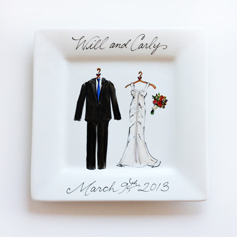 Hand-Painted Custom Wedding Plate