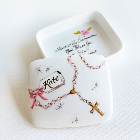 Hand-Painted Custom First Holy Communion Box (Girl)