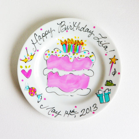 Hand-Painted Custom Birthday Plate (Girl)