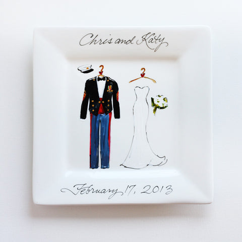 Hand-Painted Custom Military Wedding Plate