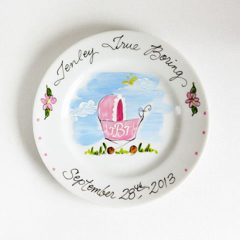 Hand-Painted Custom Baby Plate (Girl)