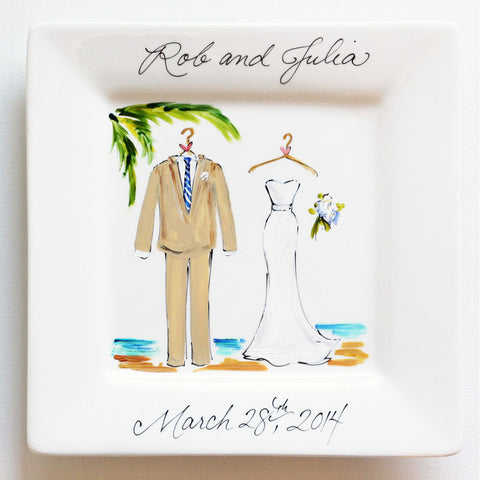 Hand-Painted Custom Tropical Wedding Plate