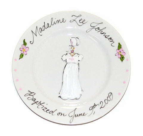 Hand-Painted Custom Baptism Plate (Girl)