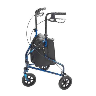 Drive 3 Wheel Rollator Walker with Basket Tray and Pouch, Blue