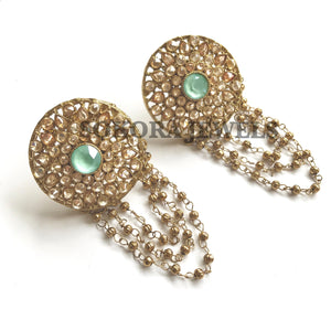Gold chained Stud Earrings - Green Opal