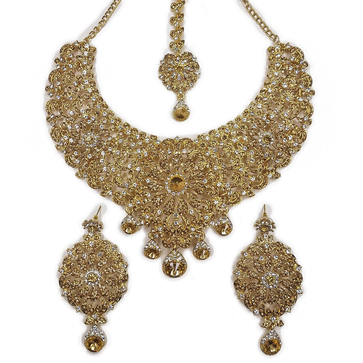 Tamanna Necklace Set - Clear and Golden crystal