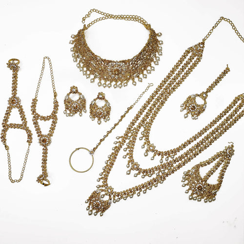 Shabnam Bridal Set - Clear and Golden crystal Mix