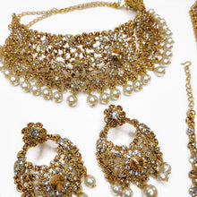 Load image into Gallery viewer, Shabnam Bridal Set - Clear and Golden crystal Mix