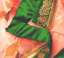 Load image into Gallery viewer, Pink and Emerald Green Border saree