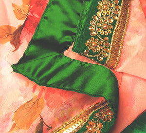 Pink and Emerald Green Border saree
