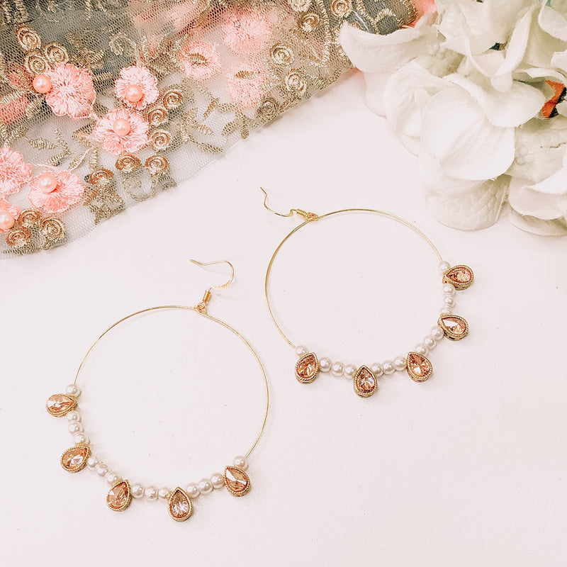 Mani Hoop Earrings  - Pearl
