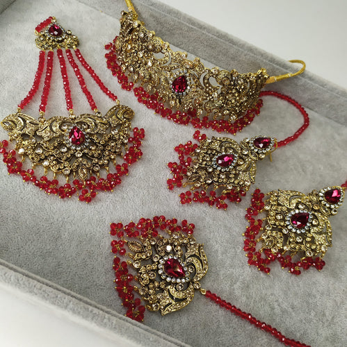 Amelia Bridal Choker Set - Bridal Red