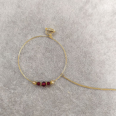 Maroon Bead Nose ring - Clip On