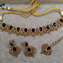 Load image into Gallery viewer, Parthvi Choker Set - Navy