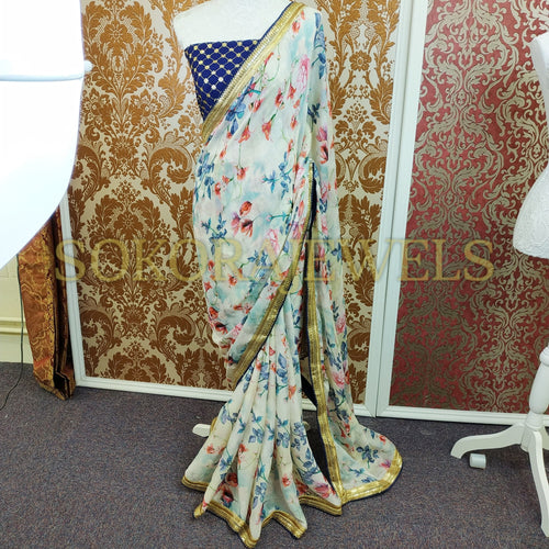 Navy Border Water Rose Saree
