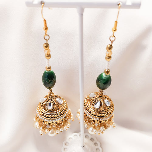 Avia Long Jhumka - Green