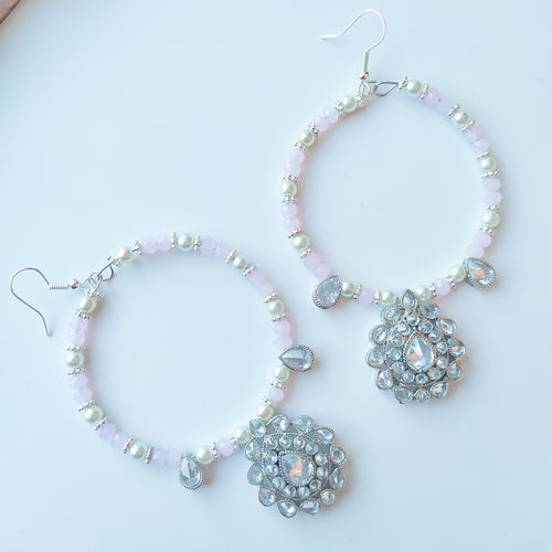 Olivia Hoop Earrings - Silver/Pink