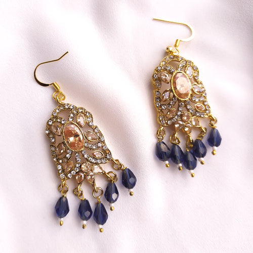 Sia Crystal Earrings - Navy