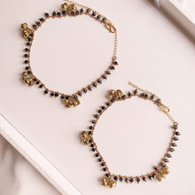 Load image into Gallery viewer, Sarah Beaded and Belled Anklets - Black