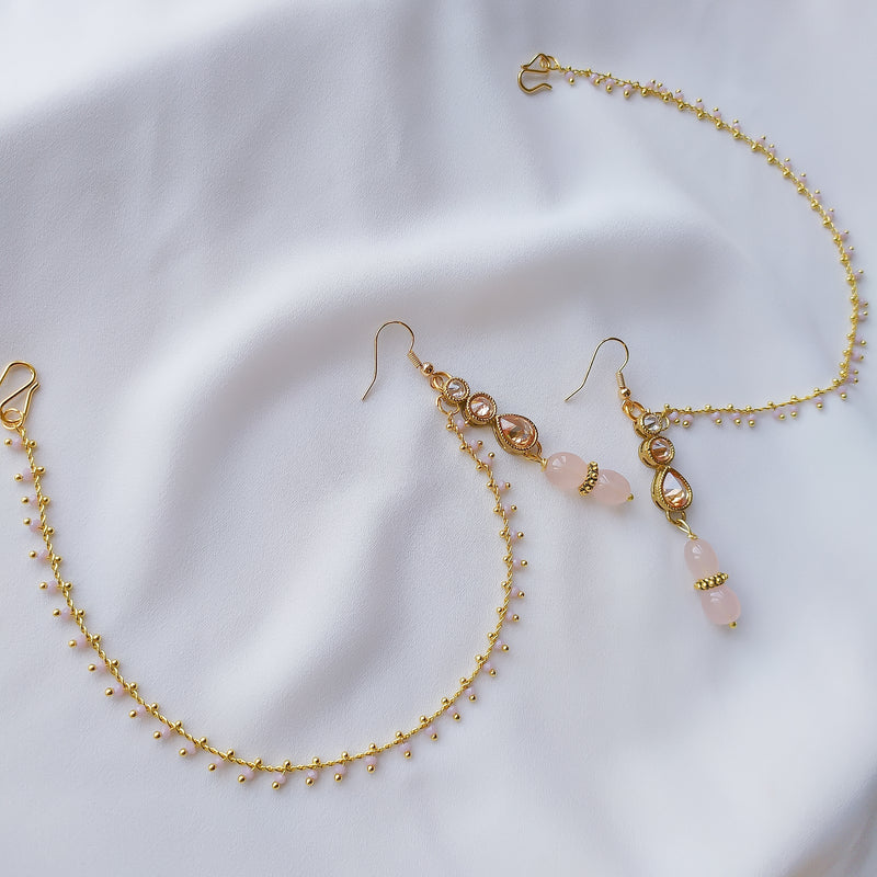 Milani Earrings with Ear Chains - Pastel Pink